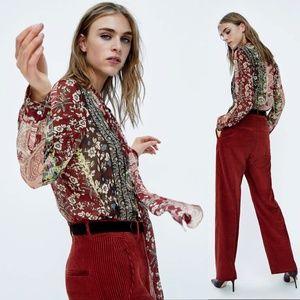 Zara Patchwork Print Tie Neck Sheer Blouse